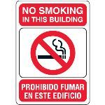 "Seton Identification Products - No Smoking in This Building - 10""W x 7""H Bilingual Signs - 97799"