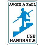 Seton Identification Products - Avoid A Fall - Use Handrails Interior Signs - 89415