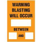 Seton Identification Products - Blasting Barricade Sign Stands - Warning Blasting Will Occur_Between_And_ - 2167C