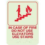 Seton Identification Products - In Case Of Fire Do Not Use Elevators Use Stairs- Braille Signs - 89439