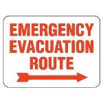 Seton Identification Products - Heavy-Duty Emergency Rescue & Evacuation Signs - Emergency Evacuation Route (with right arrow)