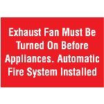 Seton Identification Products - Exhaust Fan Must Be Turned On Self-Adhesive Vinyl Fire Sign - 8330A
