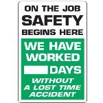 Seton Identification Products - Dry Erase Safety Tracker Signs - On The Job Safety __ Days Without A Lost Time Accident