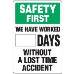 Seton Identification Products - Dry Erase Safety Tracker Signs - Safety First __ Days Without A Lost Time Accident