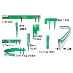 Collier Metal Specialties, Inc. - 144SS Edging Accessories - 4' Green Steel Edging Section w/attached Stakes (5/bx)