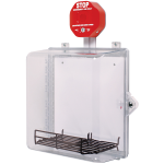 Safety Technology International, Inc. - AED Protective Cabinet - Polycarbonate w/ Backplt, Wire Shelf, Siren Alarm,Thumb Lock - STI-7533AED