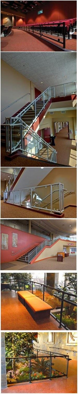 Decorative Metal Railings with Glass Infill Panels