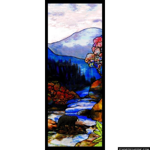 Bear In Stream Panel 3978 Stained Glass Window Insert Stained Glass Inc Sweets