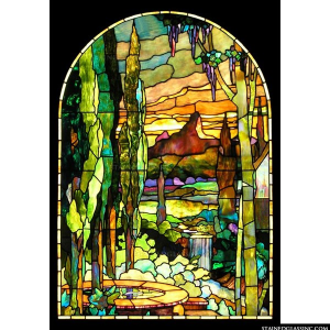 Tiffany Scape Panel 2127 Stained Gl Window Insert