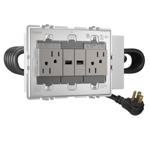 Furniture Power 2 Outlets With USB Ports Magnesium Wiremold