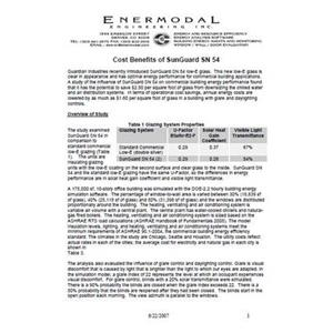 SunGuard SN 54 Energy Cost Benefits-Guardian Industries Corp.