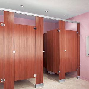 Plastic Laminate Toilet Partitions With Moisture Guard Edge Banding - Plastic laminate bathroom partitions